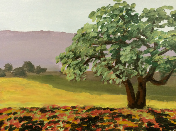 Santa Ynez Oak Vineyard Painting