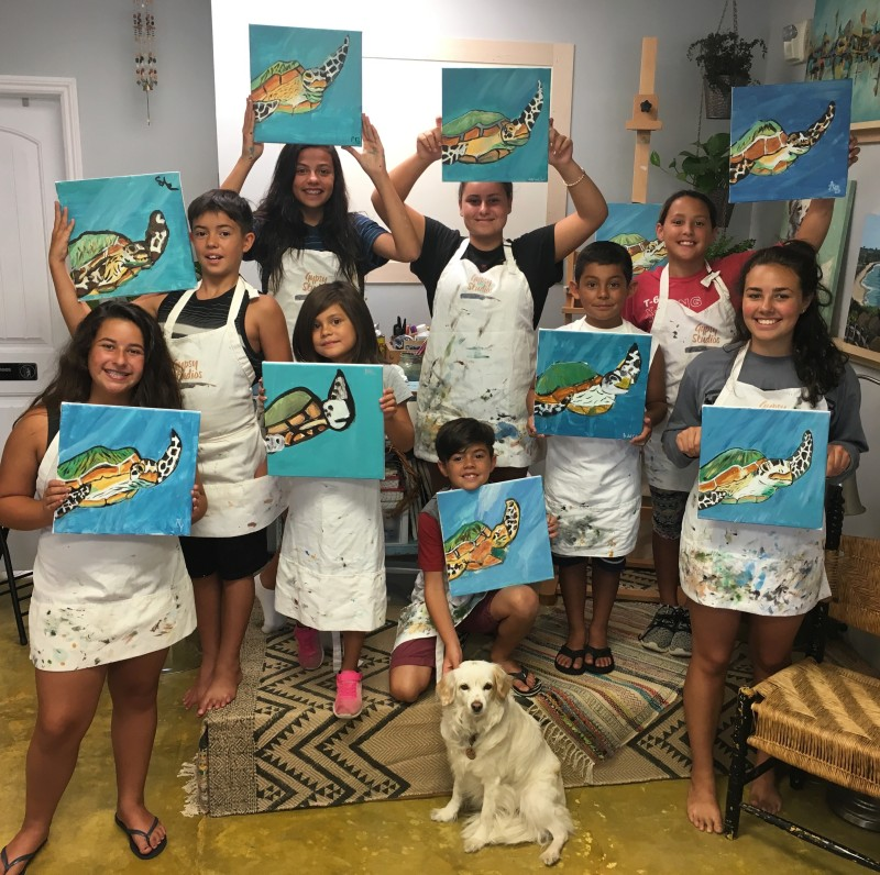 Kids painting parties gypsy studios for Kids paint party