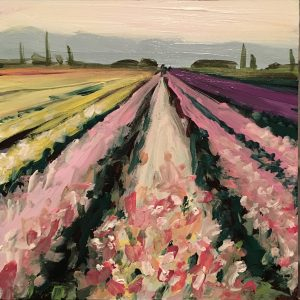 Lompoc Flower fields painting, santa ynez valley art