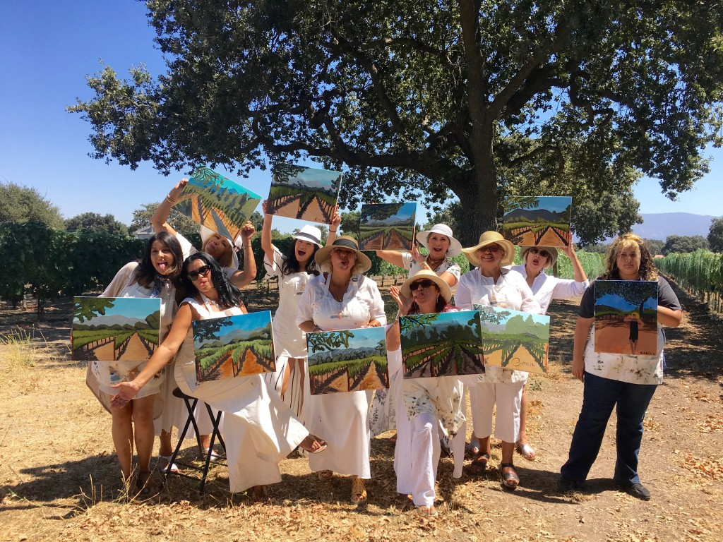 Painting in the Vineyard at Roblar winery