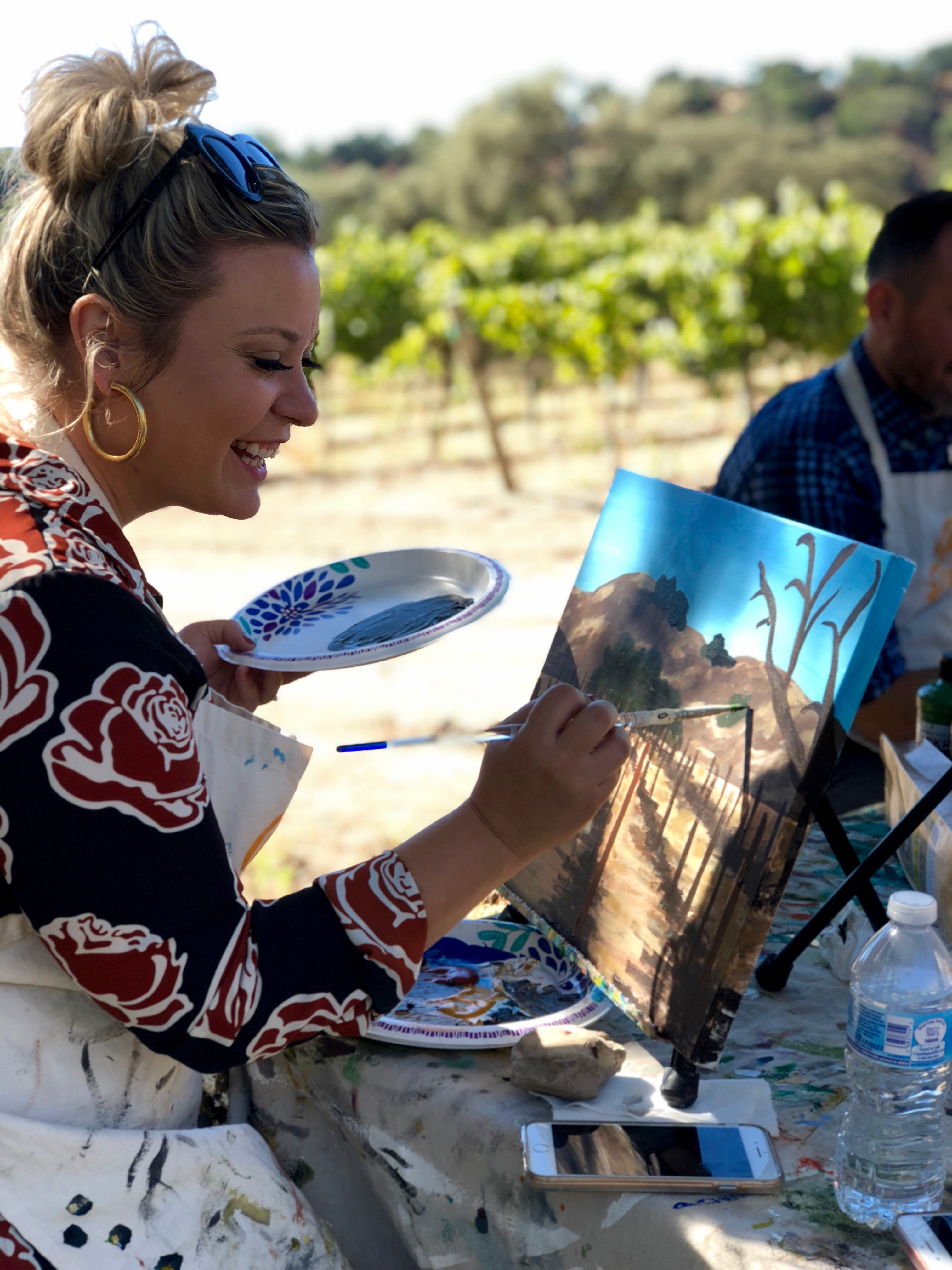 Painting in the Vineyard at Folded Hills Estate Winery